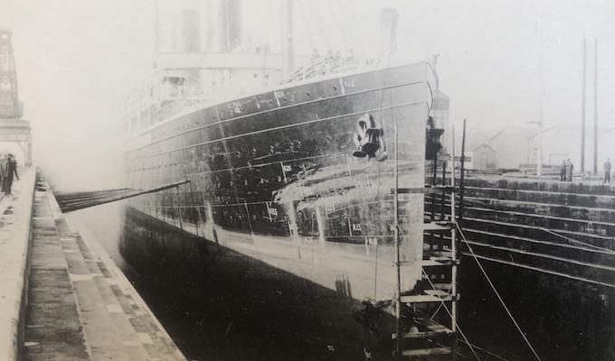 SS St Paul in Southampton Drydock after 1908 collision