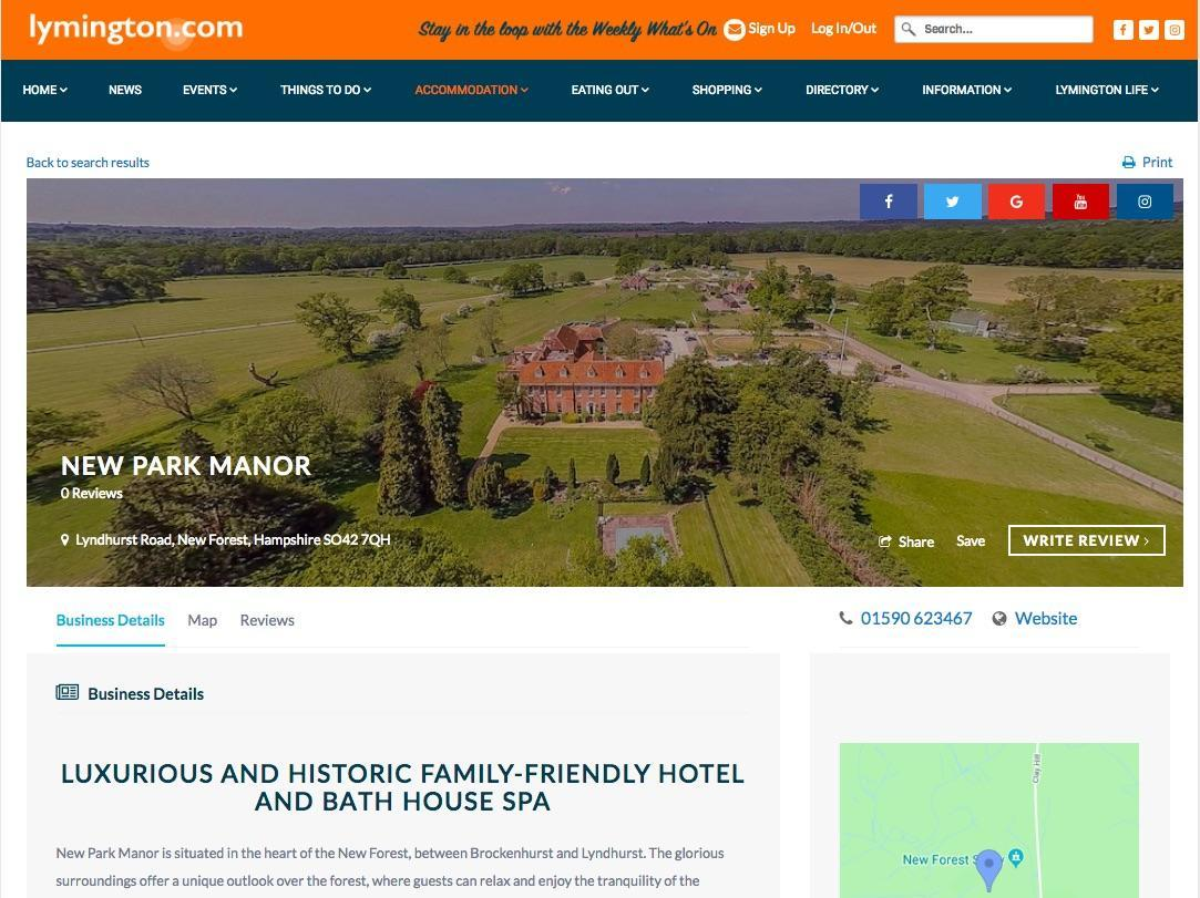 Business Web Page on Lymington.com New Park Manor example