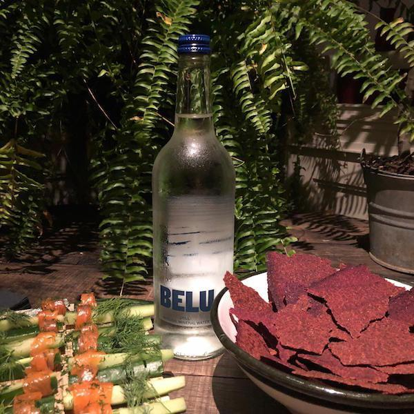 Belu water and delicious Lime Wood canapes