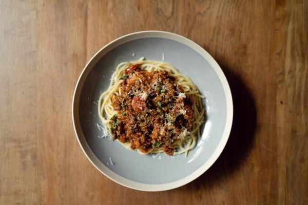 spaghetti bolognaise made from rich meat sauce