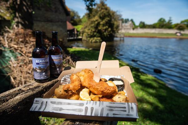 Enjoy Monty's fish and chips on the banks of the Beaulieu River