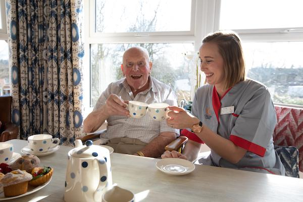 Cheers with tea at Colten Care