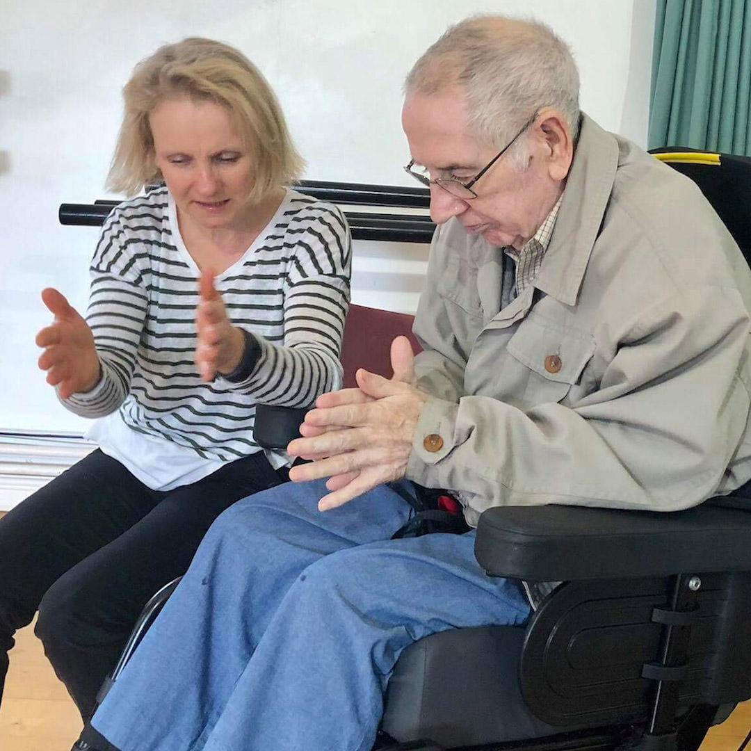 Music and Arts Partner Fiona Pritchard working with a participant at a Dance for Parkinson's session at the Forest Arts Centre in New Milton, Hampshire.