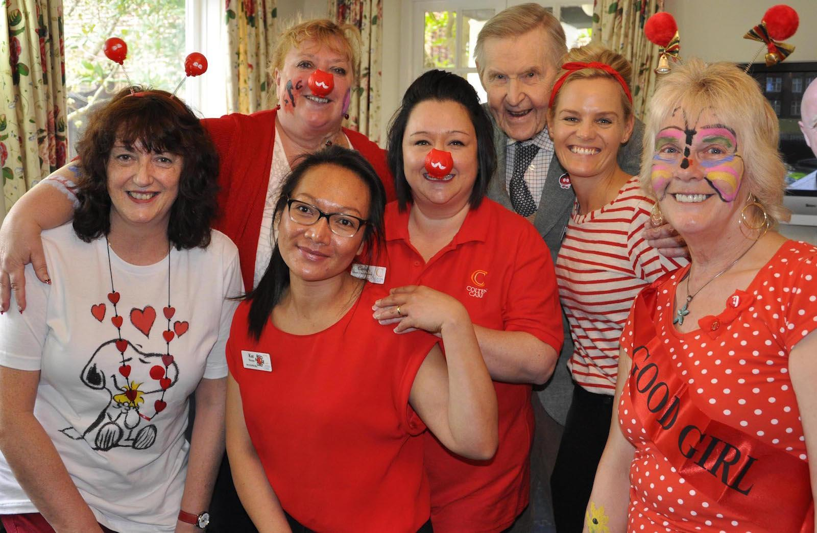 Janie and the Colten Care team have fun with residents on Red Nose Day