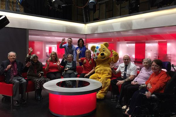 COMMUNITY ETHOS. The Colten Care party at the BBC South studios in Southampton with presenters Tony Husband and Anjana Gadgil, standing, and Children in Need mascot Pudsey.