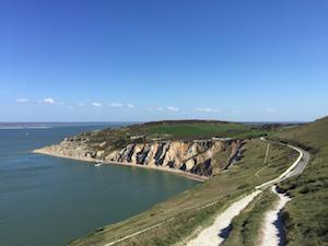 Alum Bay, Isle of Wight with Lymington across the Solent