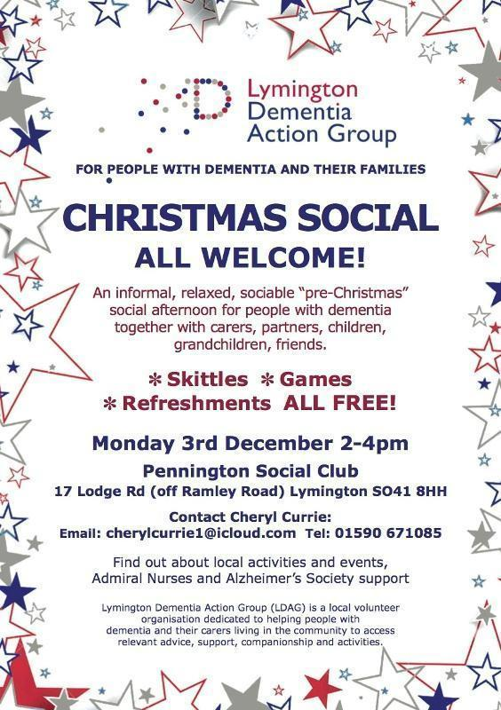 lymington dementia action group christmas social all welcome