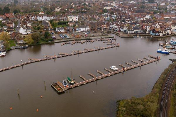 Aerial view of Lymington Harbour's new Quay facilities