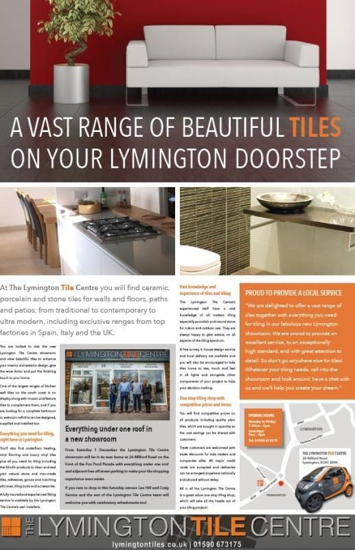 lymington tile centre advertorial for move to new showroom