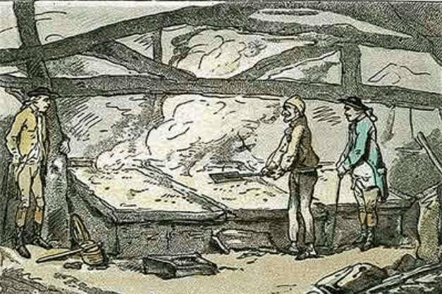 Salt Production in Lymington drawing by Thomas Rowlandson