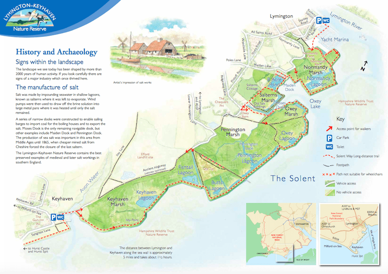 Lymington to Keyhaven Nature Reserve map