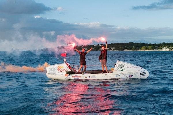 Ocean Brothers Jude Massey and Greg Bailey on their ocean rowing boat