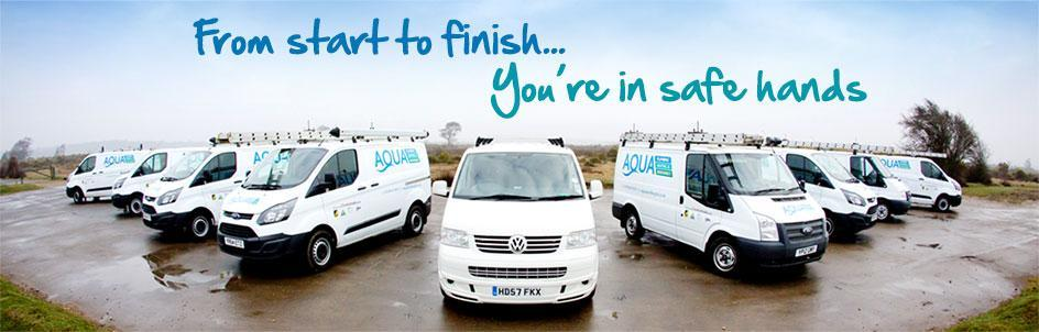 Aqua Plumbing and Heating Services Ltd vans based in Lymington and the New Forest