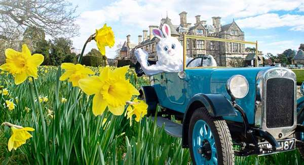 easter holiday bonnets galore bunny car at Beaulieu