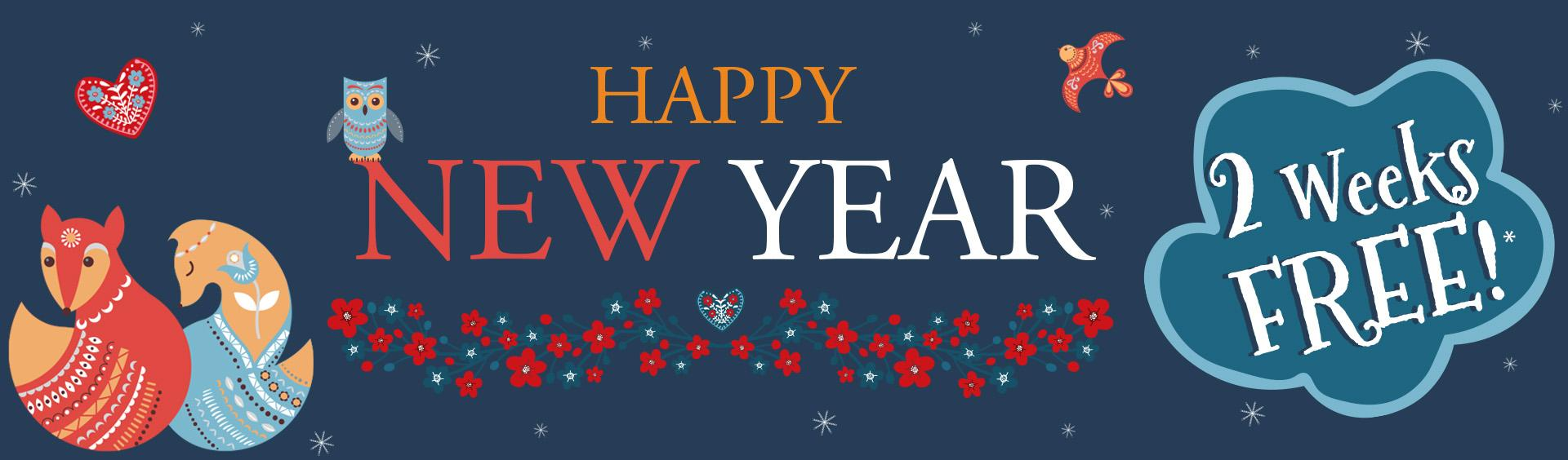 Bonne année et deux semaines de bannière gratuite