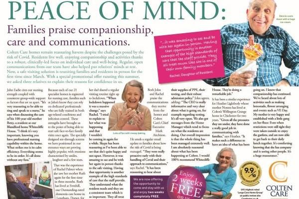 Peace of mind advertorial