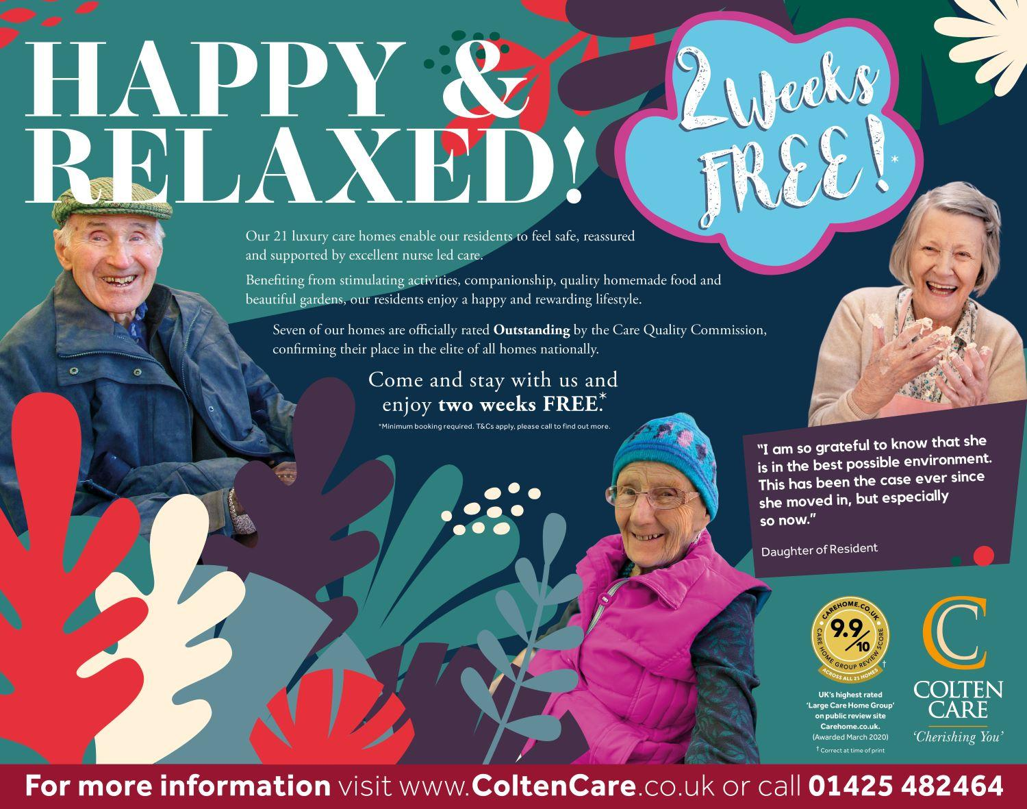 happy and relaxed two weeks free poster