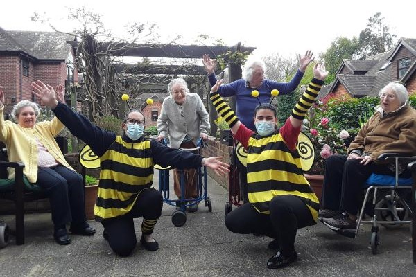 human bees with elderly active people