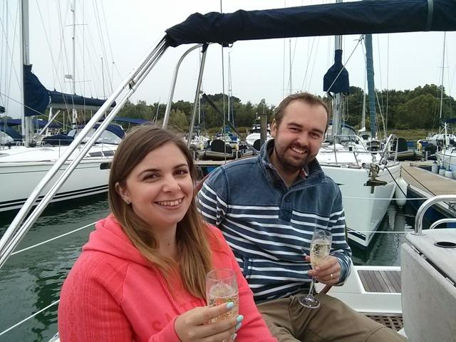 Welcoming glass of champagne on board at Lymington with Escape Yachting