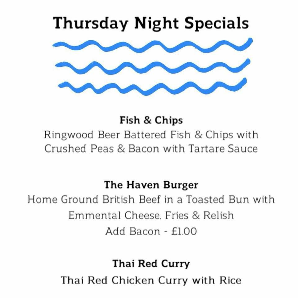The Haven Thursday night menu