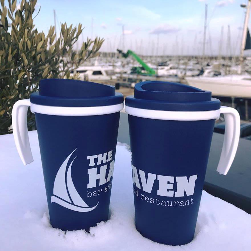 resusable mugs at The Haven