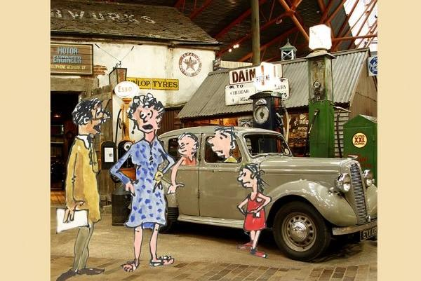 National Motor Museum cartoon by Hugh Lohan