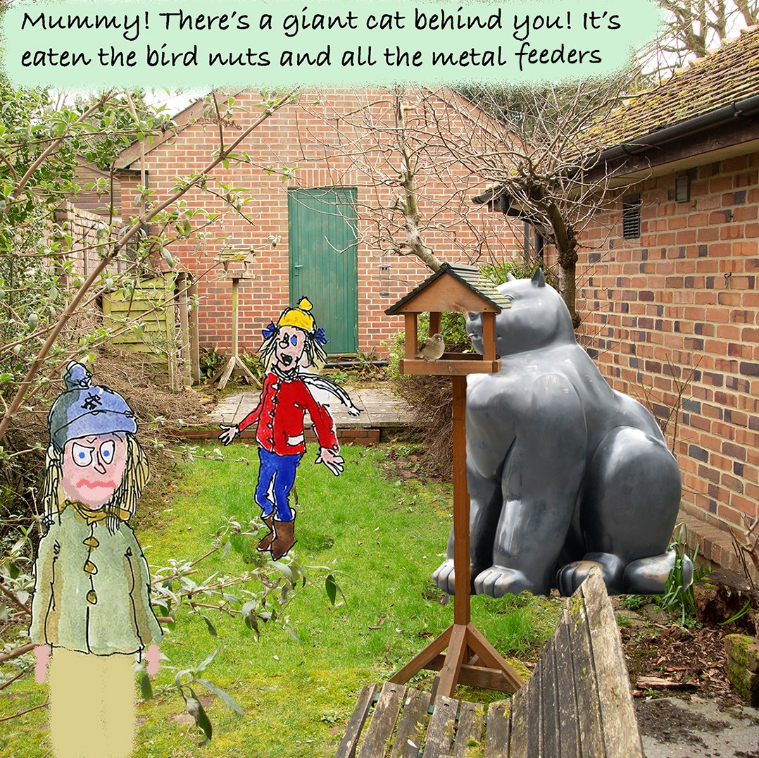 cartoon of cat sculpture in a garden with people