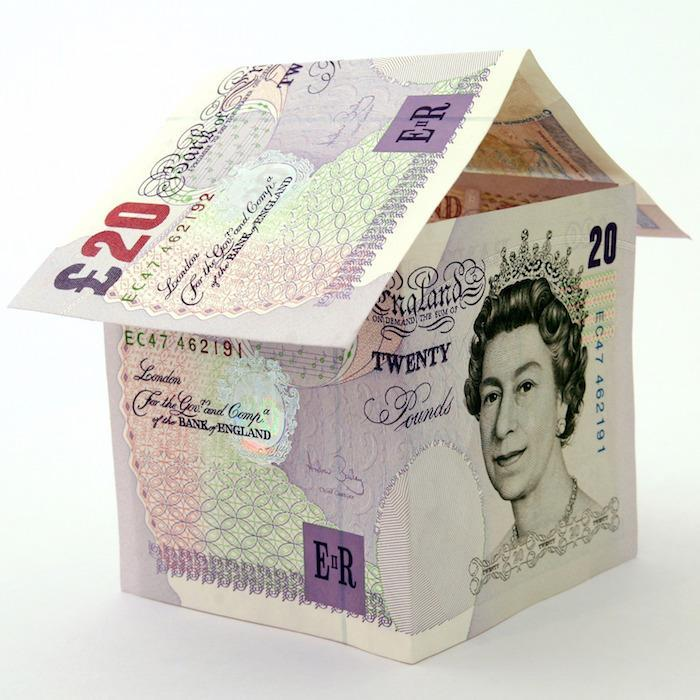 Twenty pound notes shaped as a house