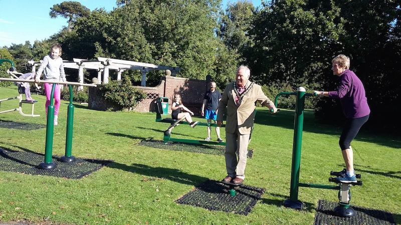Twister the Mayor Barry Dunning at outdoor gym Woodside Gardens