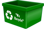 Recycling bin with we recycle in words and the recycle arrow logo