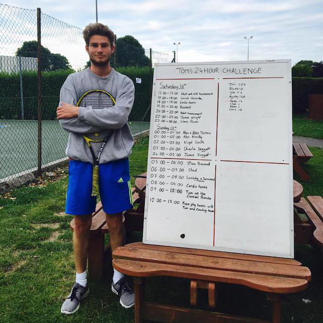 Tom's 24 hour tennis challenge in aid of Papyrus