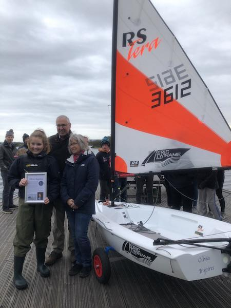 Paula and Nigel Burt with Commodore Freya Baddeley at Salterns Sailing Club