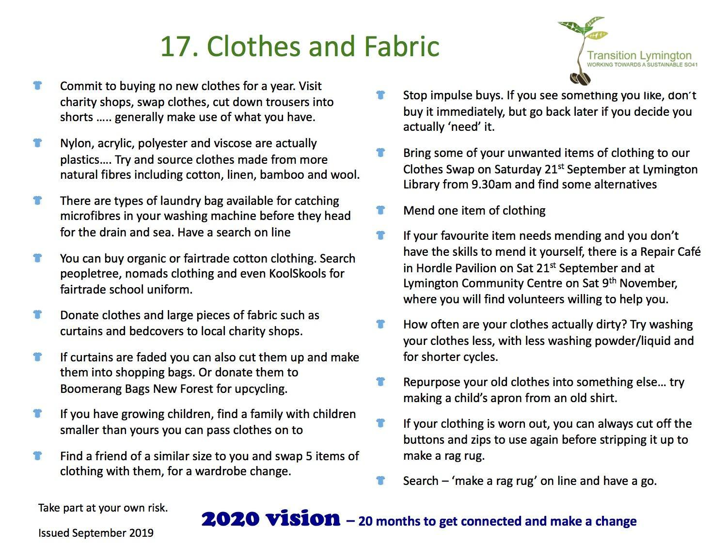 2020 Vision - Lymington Transition challenge us to think about Clothes and Fabric