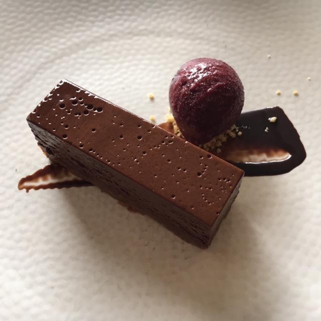 dark chocolate delice with cherry sorbet and almond tuile
