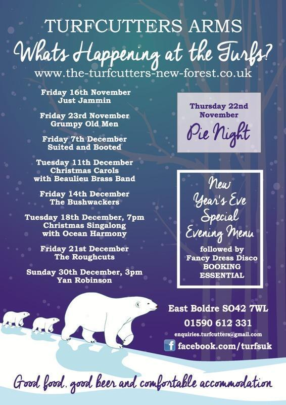 Live music and seasonal events winter 2018 at the Turfcutters Arms East Boldre