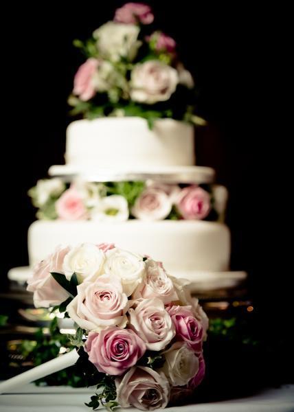 Two tier wedding cake at Rhinefield House Wedding