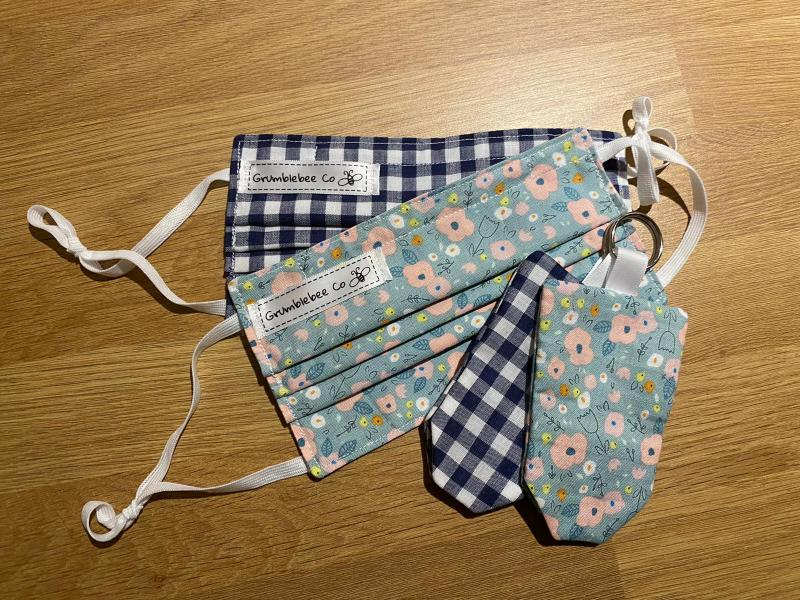 Beautiful fabrics to match your outfit, these masks fold neatly away into matching pouches that can be easily attached to your keys or bag to make them easily accessible