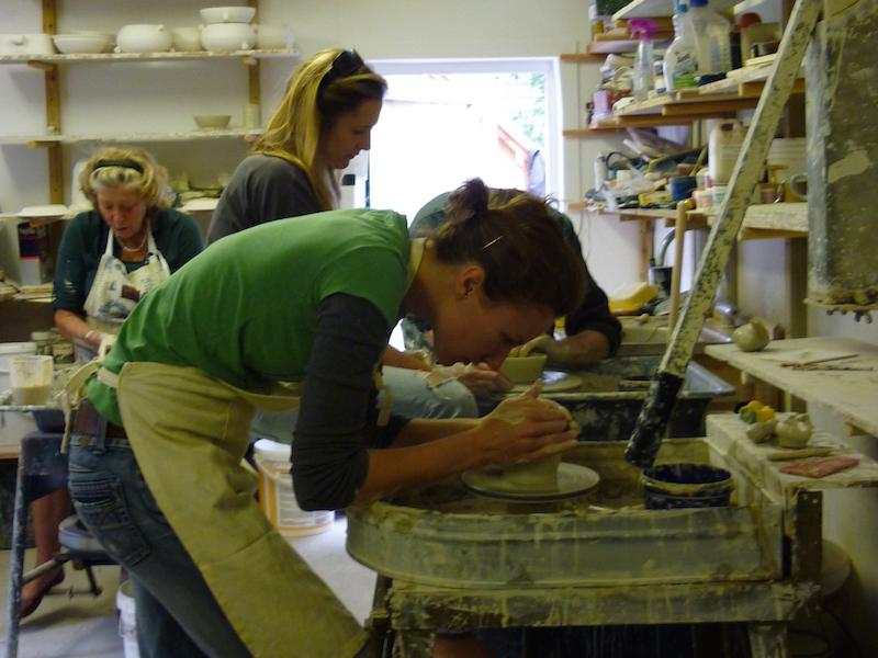 Hard at work at Vinegar Hill Pottery course