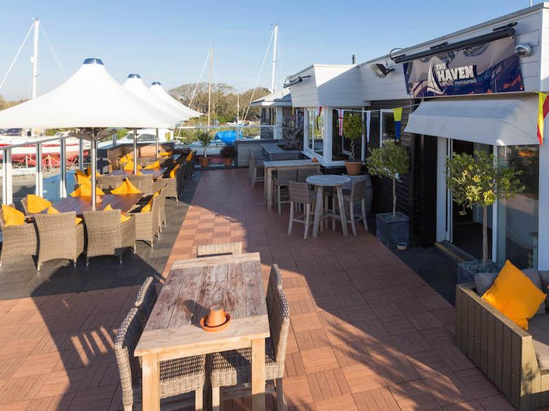 Excellent seating and dining area outside at The Haven Bar and Restaurant