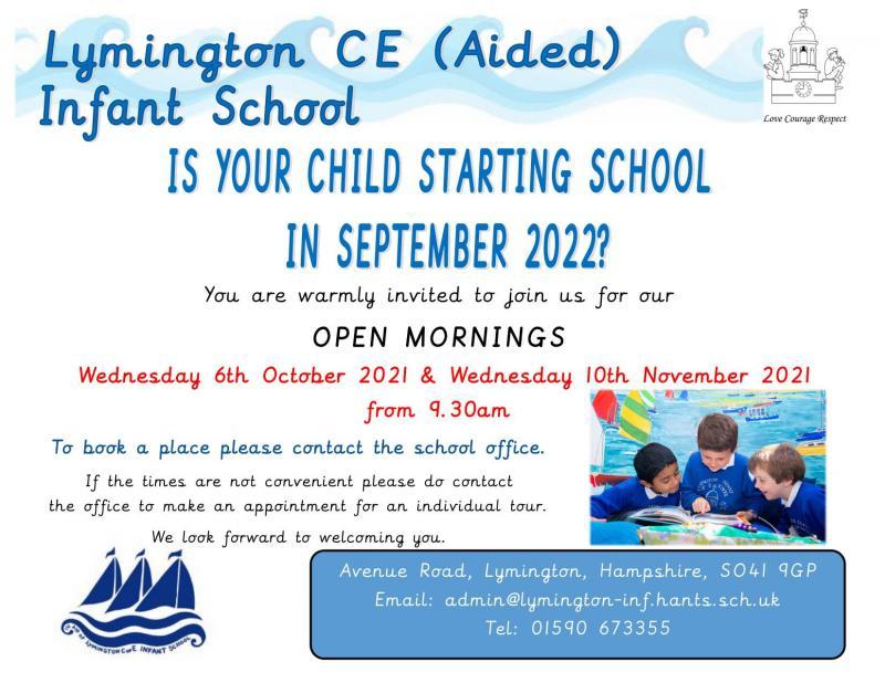 Autumn Term 2021 Open Days at Lymington Infant School