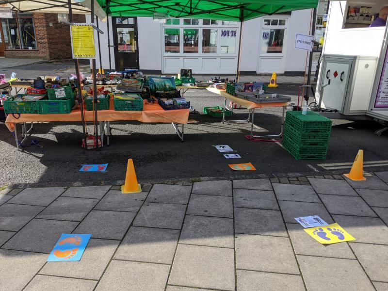 Social distancing at Lymington market